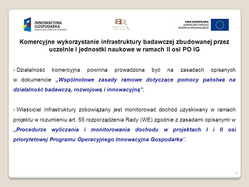 Komercyjne wykorzystanie infrastruktury badawczej zbudowanej przez uczelnie i jednostki naukowe w ramach II osi PO IG
