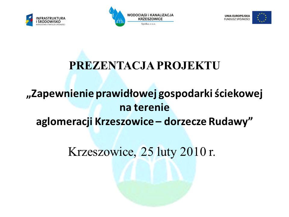 """PREZENTACJA PROJEKTU """"Zapewnienie prawidłowej gospodarki ściekowej na terenie aglomeracji Krzeszowice – dorzecze Rudawy Krzeszowice, 25 luty 2010 r."""