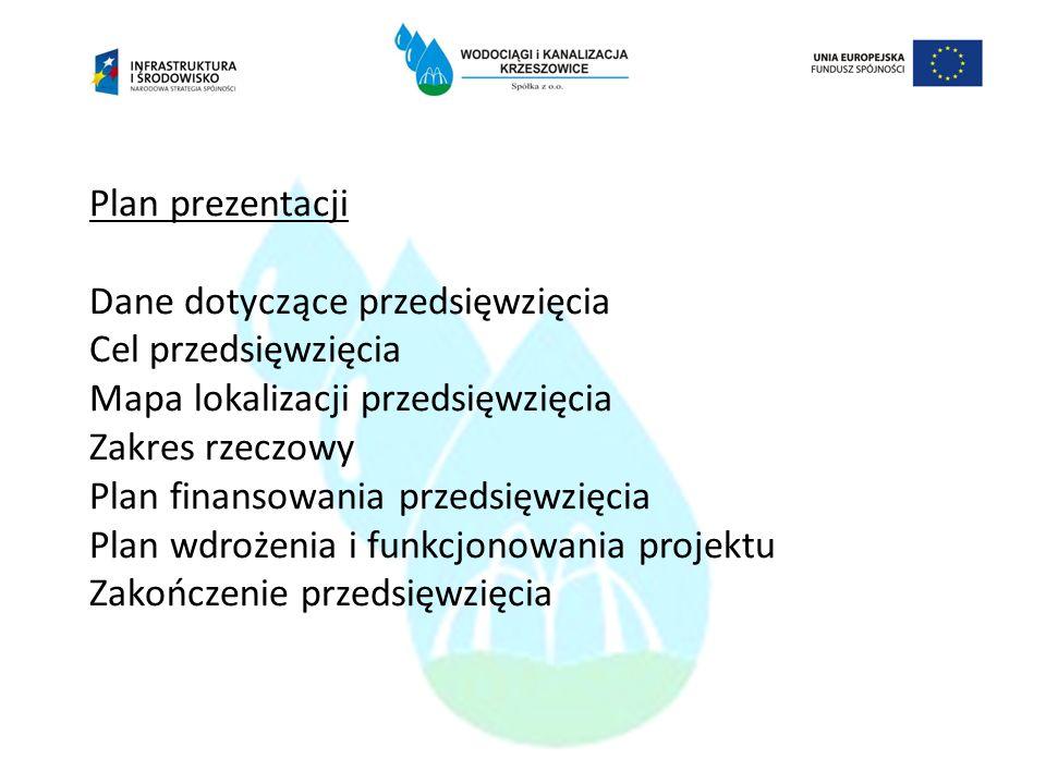 Plan prezentacji Dane dotyczące przedsięwzięcia Cel przedsięwzięcia Mapa lokalizacji przedsięwzięcia Zakres rzeczowy Plan finansowania przedsięwzięcia Plan wdrożenia i funkcjonowania projektu Zakończenie przedsięwzięcia