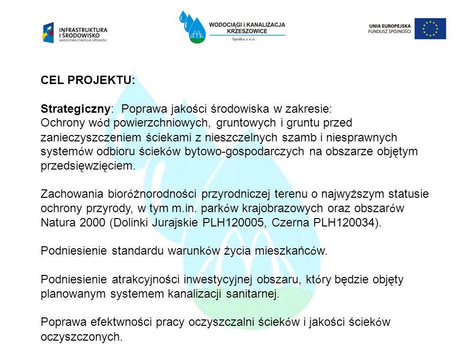 CEL PROJEKTU: Strategiczny: Poprawa jakości środowiska w zakresie: Ochrony wód powierzchniowych, gruntowych i gruntu przed zanieczyszczeniem ściekami z nieszczelnych szamb i niesprawnych systemów odbioru ścieków bytowo-gospodarczych na obszarze objętym przedsięwzięciem. Zachowania bioróżnorodności przyrodniczej terenu o najwyższym statusie ochrony przyrody, w tym m.in. parków krajobrazowych oraz obszarów Natura 2000 (Dolinki Jurajskie PLH120005, Czerna PLH120034). Podniesienie standardu warunków życia mieszkańców. Podniesienie atrakcyjności inwestycyjnej obszaru, który będzie objęty planowanym systemem kanalizacji sanitarnej. Poprawa efektwności pracy oczyszczalni ścieków i jakości ścieków oczyszczonych.