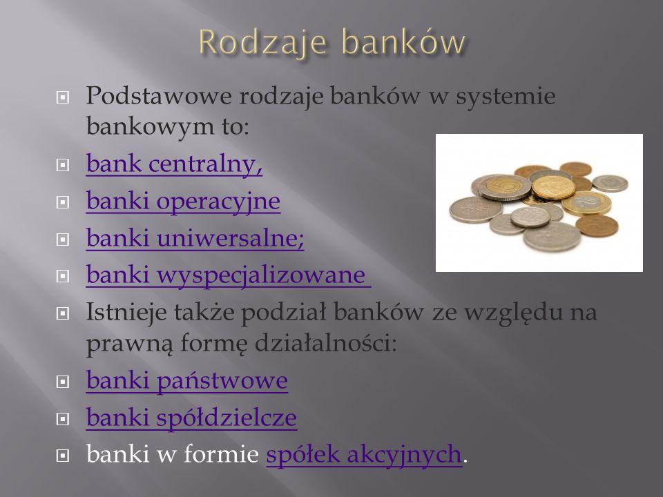 Rodzaje banków Podstawowe rodzaje banków w systemie bankowym to: