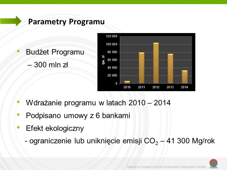 Parametry Programu Budżet Programu – 300 mln zł