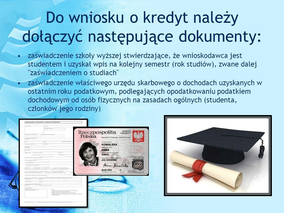 Do wniosku o kredyt należy dołączyć następujące dokumenty: