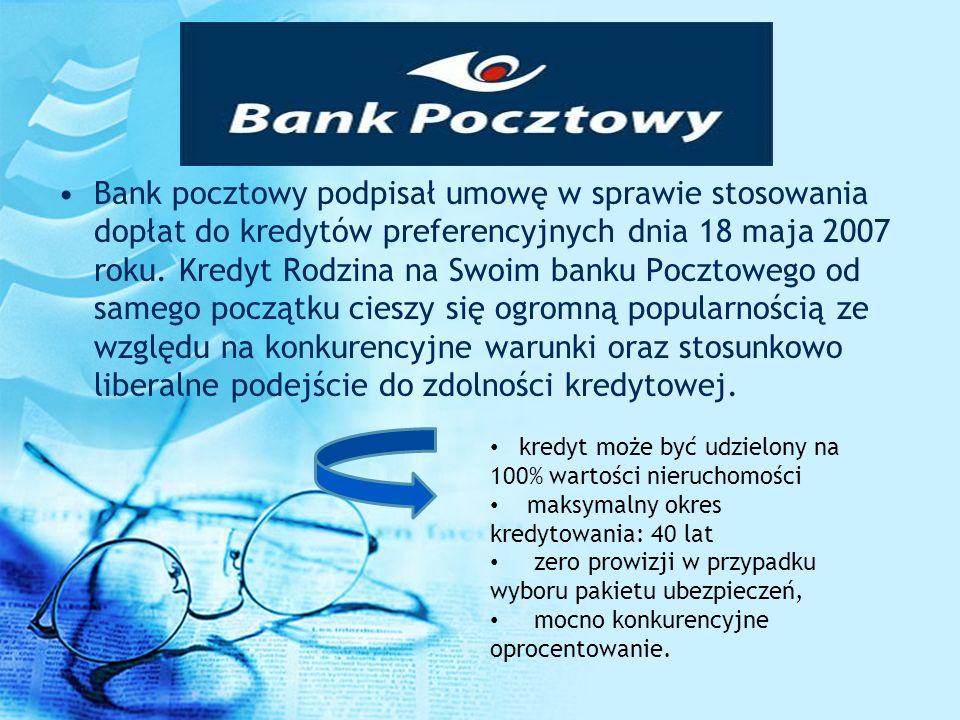 Bank pocztowy podpisał umowę w sprawie stosowania dopłat do kredytów preferencyjnych dnia 18 maja 2007 roku. Kredyt Rodzina na Swoim banku Pocztowego od samego początku cieszy się ogromną popularnością ze względu na konkurencyjne warunki oraz stosunkowo liberalne podejście do zdolności kredytowej.