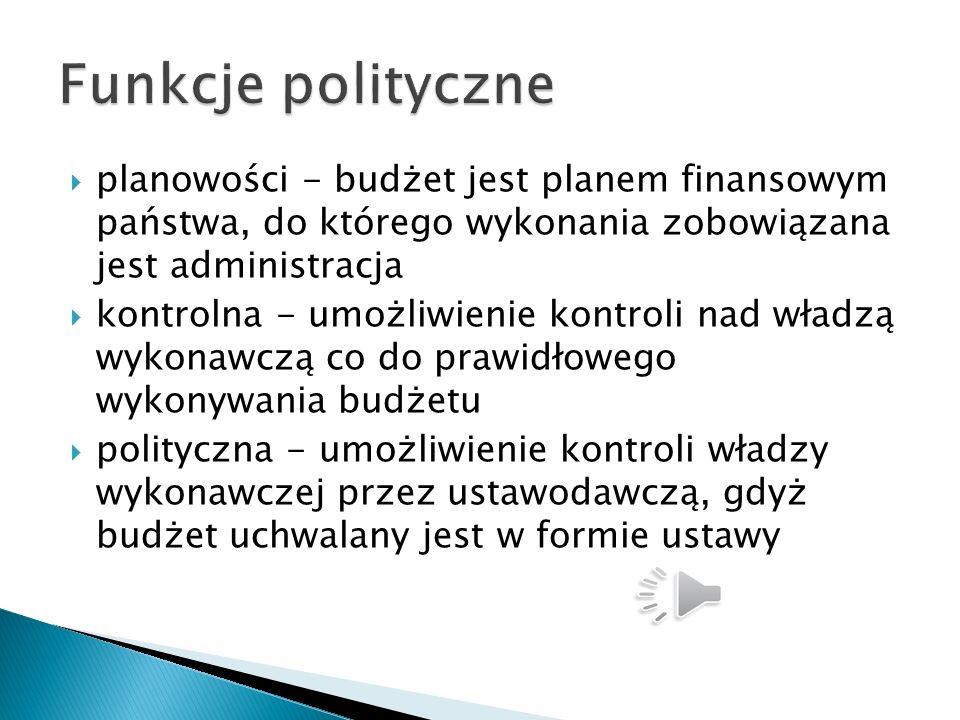 Funkcje polityczne planowości - budżet jest planem finansowym państwa, do którego wykonania zobowiązana jest administracja.
