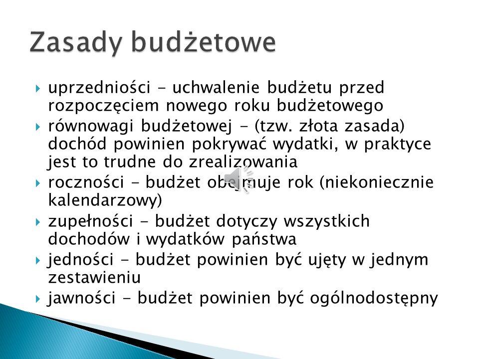 Zasady budżetowe uprzedniości - uchwalenie budżetu przed rozpoczęciem nowego roku budżetowego.