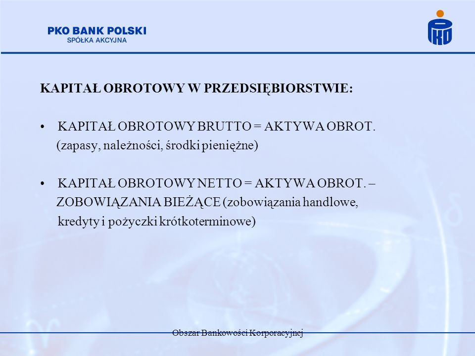 Obszar Bankowości Korporacyjnej