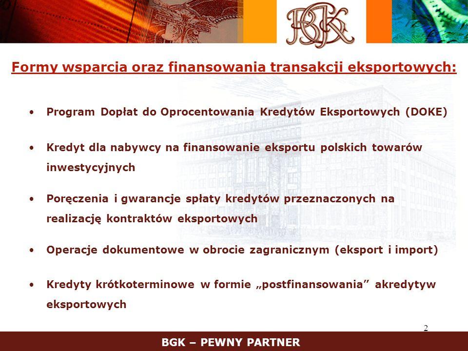 Formy wsparcia oraz finansowania transakcji eksportowych: