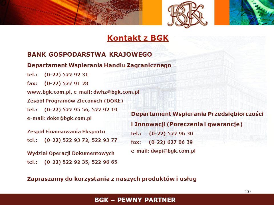 Kontakt z BGK BGK – PEWNY PARTNER