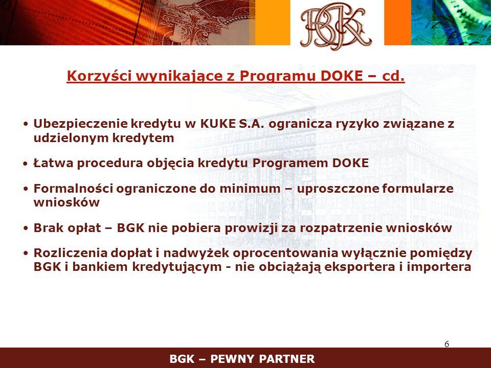 Korzyści wynikające z Programu DOKE – cd.