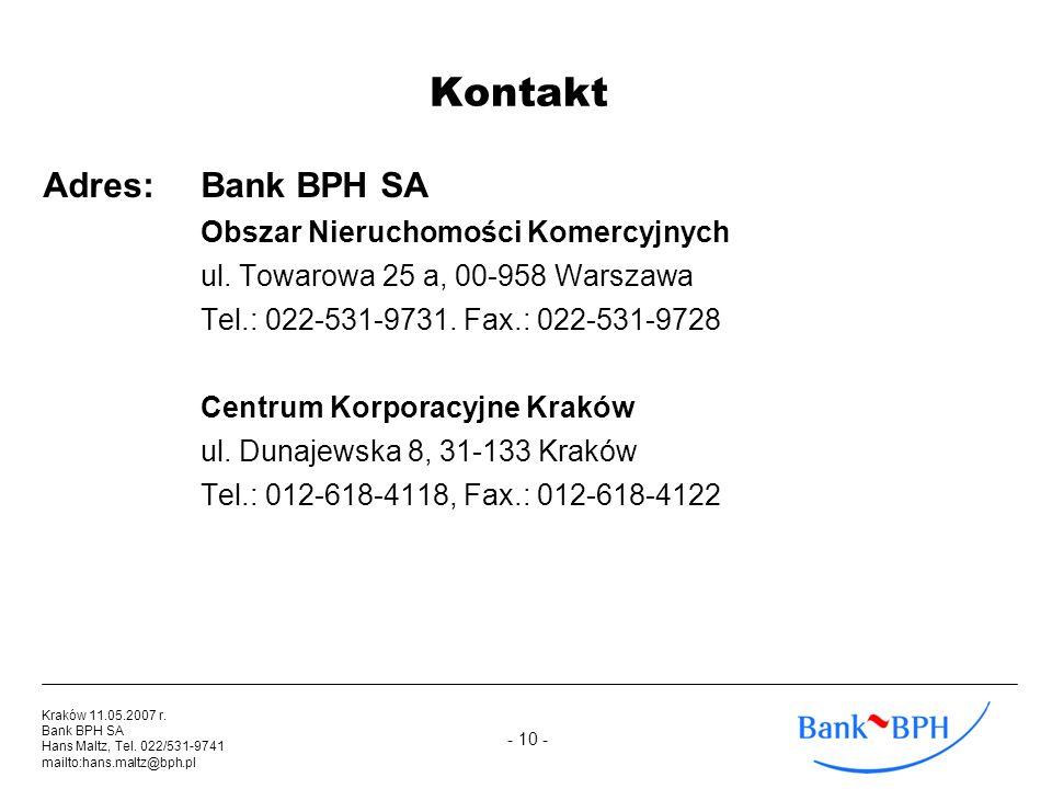 Kontakt Adres: Bank BPH SA Obszar Nieruchomości Komercyjnych