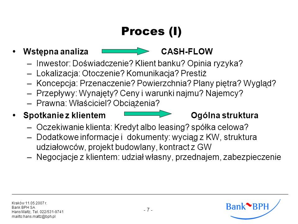 Proces (I) Wstępna analiza CASH-FLOW
