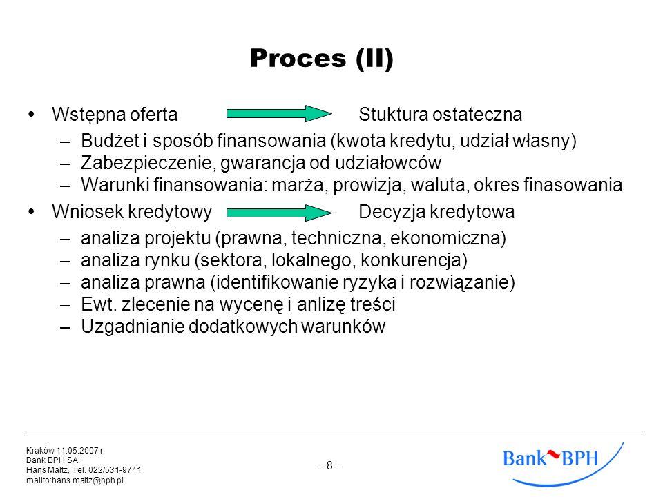 Proces (II) Wstępna oferta Stuktura ostateczna