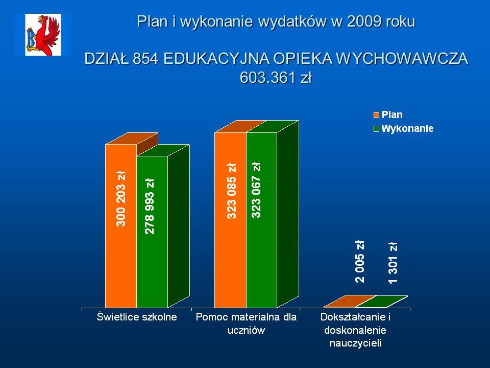 Plan i wykonanie wydatków w 2009 roku DZIAŁ 854 EDUKACYJNA OPIEKA WYCHOWAWCZA 603.361 zł