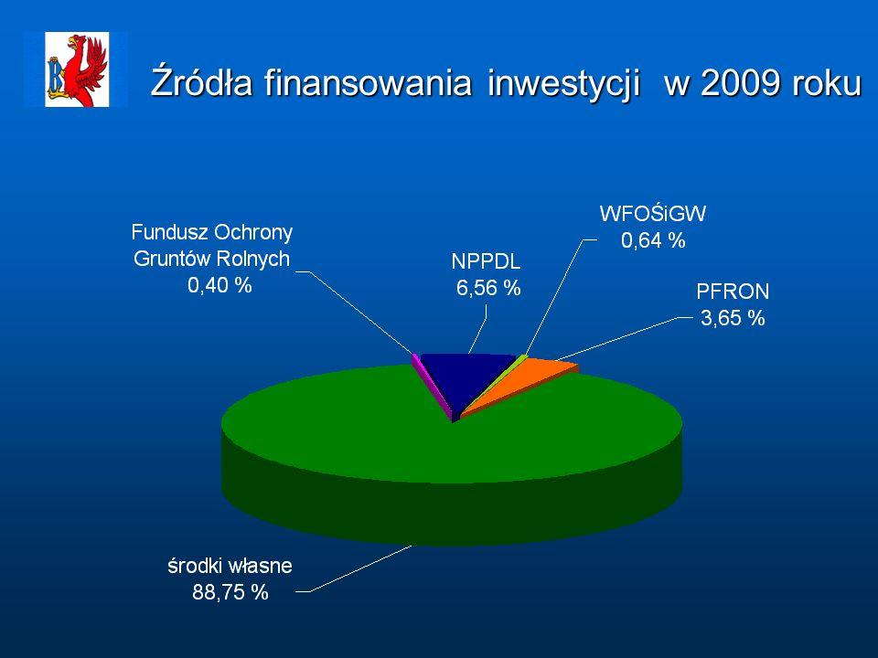 Źródła finansowania inwestycji w 2009 roku