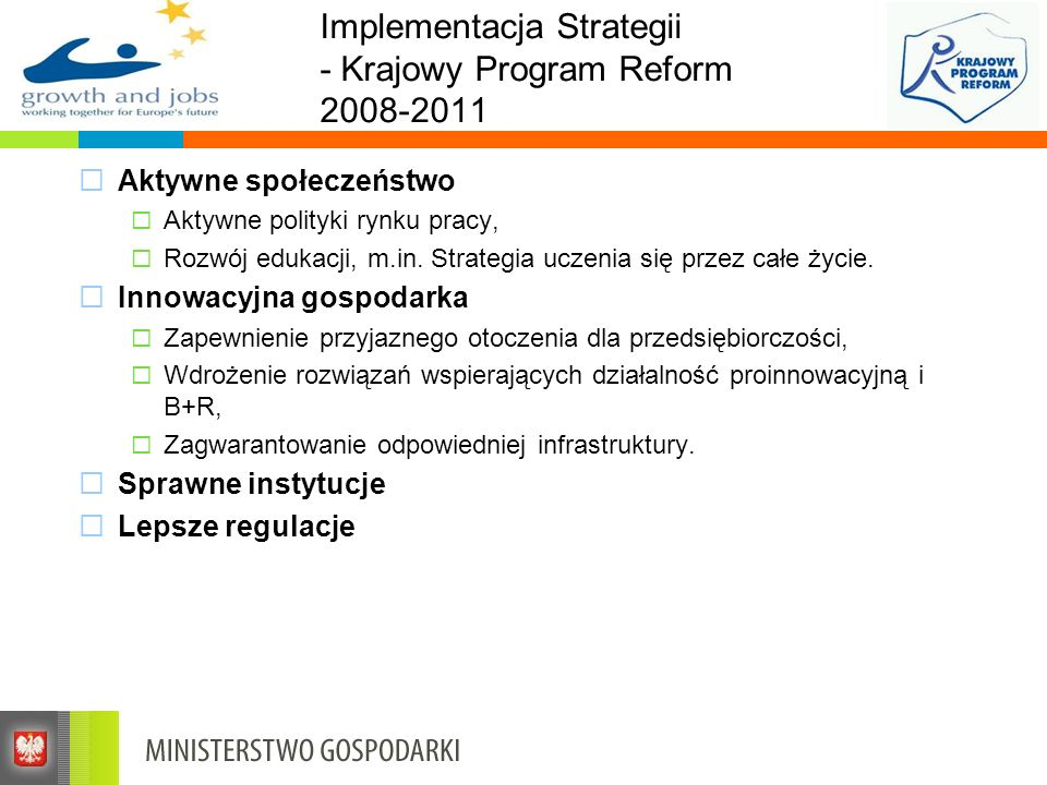 Implementacja Strategii - Krajowy Program Reform 2008-2011