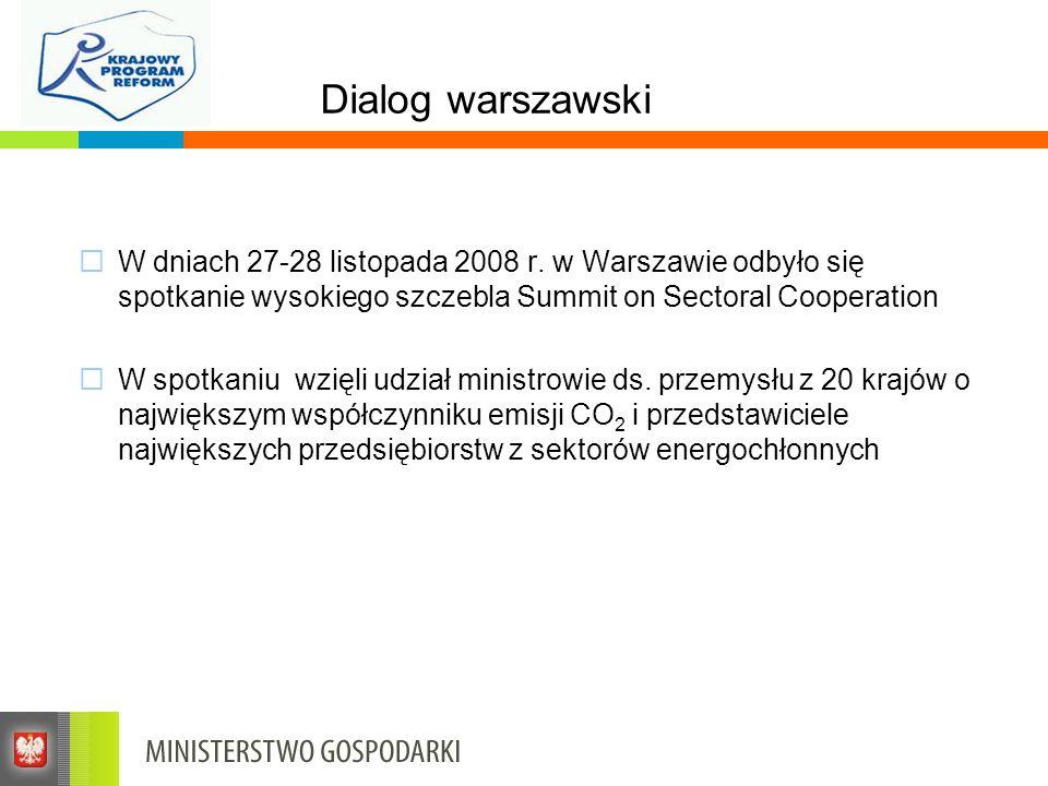 Dialog warszawski W dniach 27-28 listopada 2008 r. w Warszawie odbyło się spotkanie wysokiego szczebla Summit on Sectoral Cooperation.