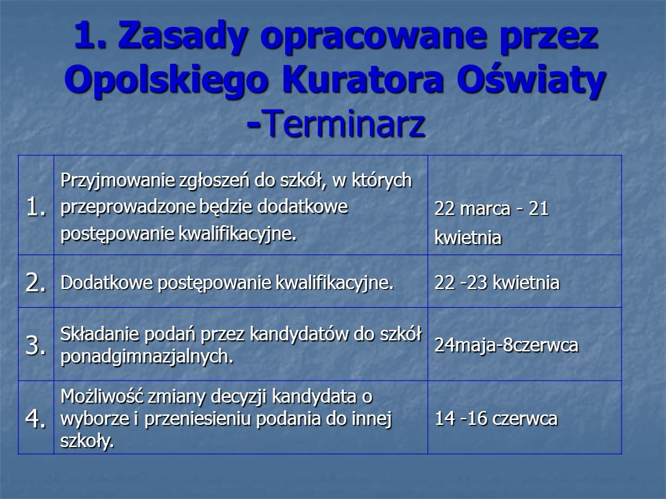 1. Zasady opracowane przez Opolskiego Kuratora Oświaty -Terminarz