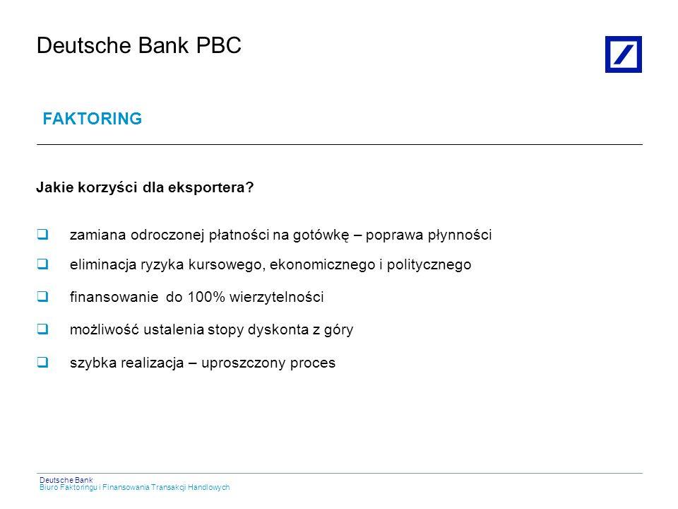 Deutsche Bank PBC FAKTORING Jakie korzyści dla eksportera