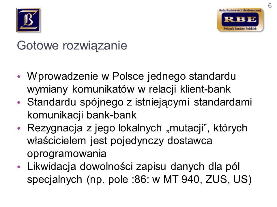 Gotowe rozwiązanie Wprowadzenie w Polsce jednego standardu wymiany komunikatów w relacji klient-bank.
