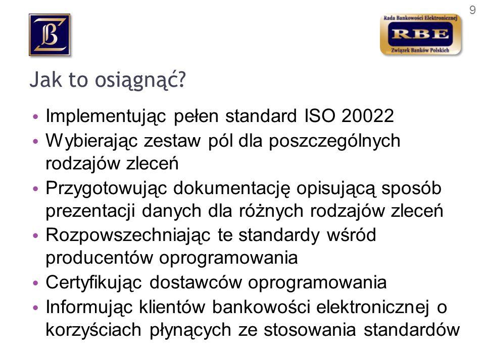 Jak to osiągnąć Implementując pełen standard ISO 20022