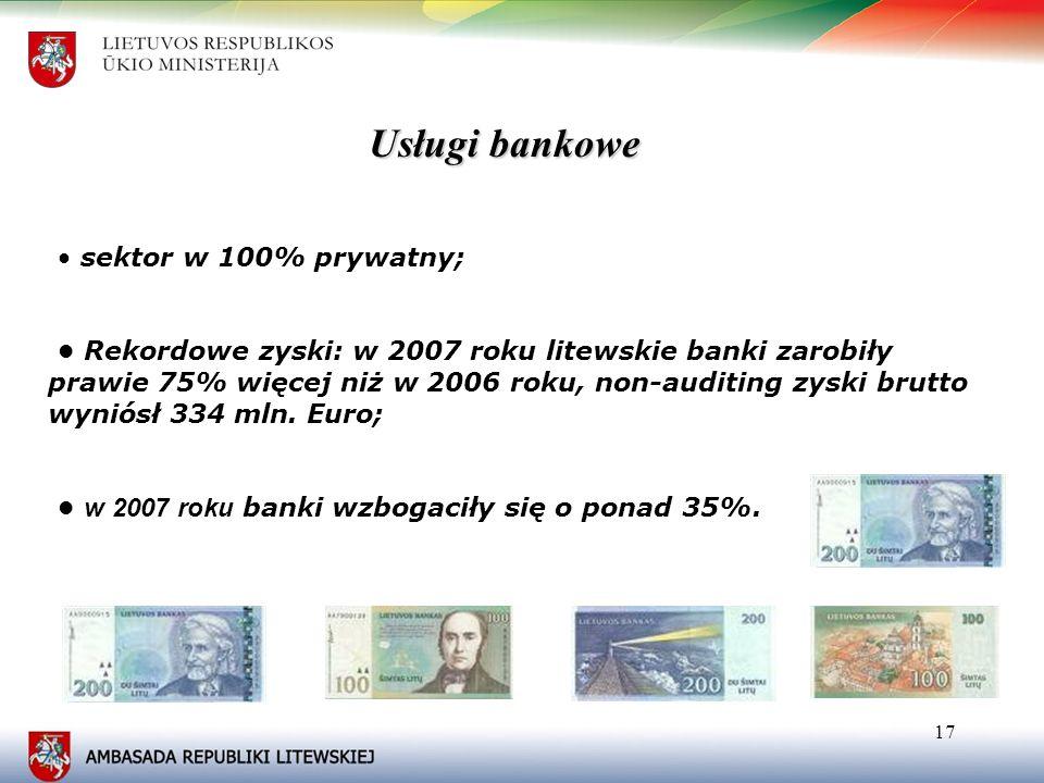 Usługi bankowe • sektor w 100% prywatny;