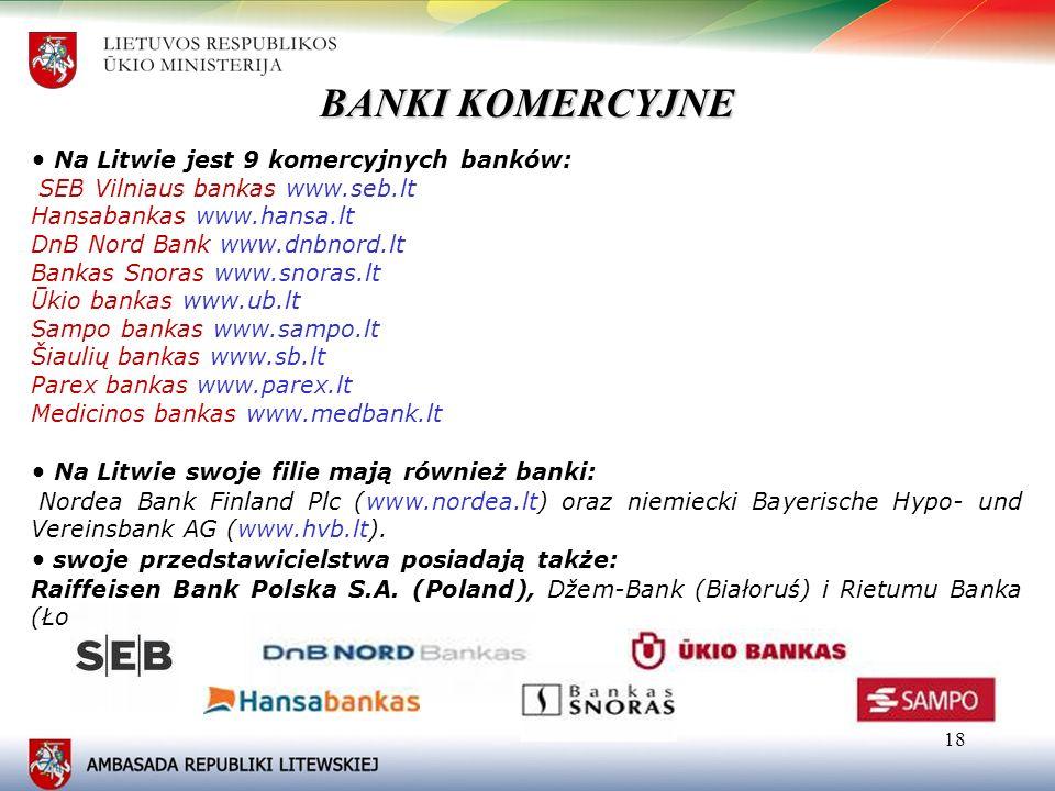 BANKI KOMERCYJNE • Na Litwie jest 9 komercyjnych banków: