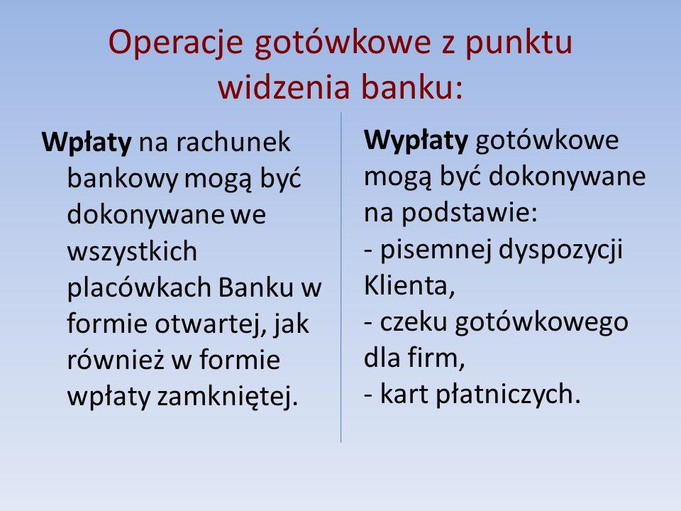 Operacje gotówkowe z punktu widzenia banku: