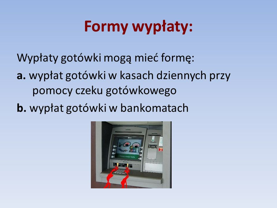 Formy wypłaty: Wypłaty gotówki mogą mieć formę: a.