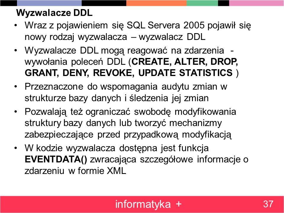 informatyka + Wyzwalacze DDL
