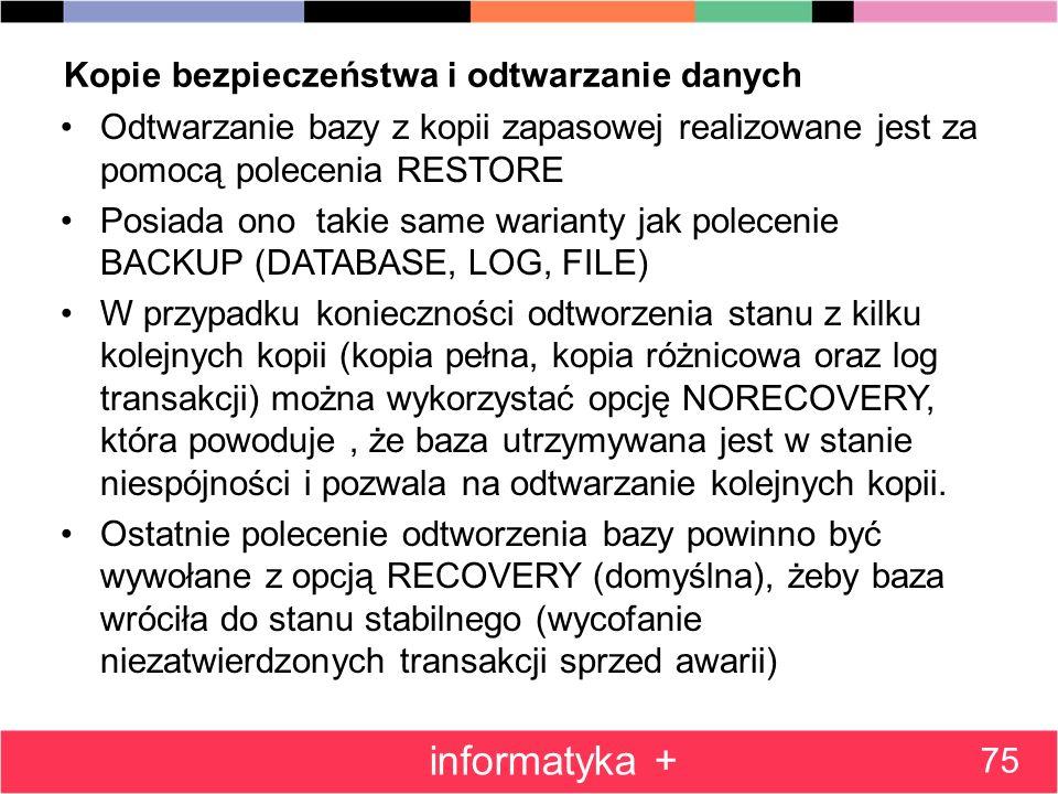Kopie bezpieczeństwa i odtwarzanie danych