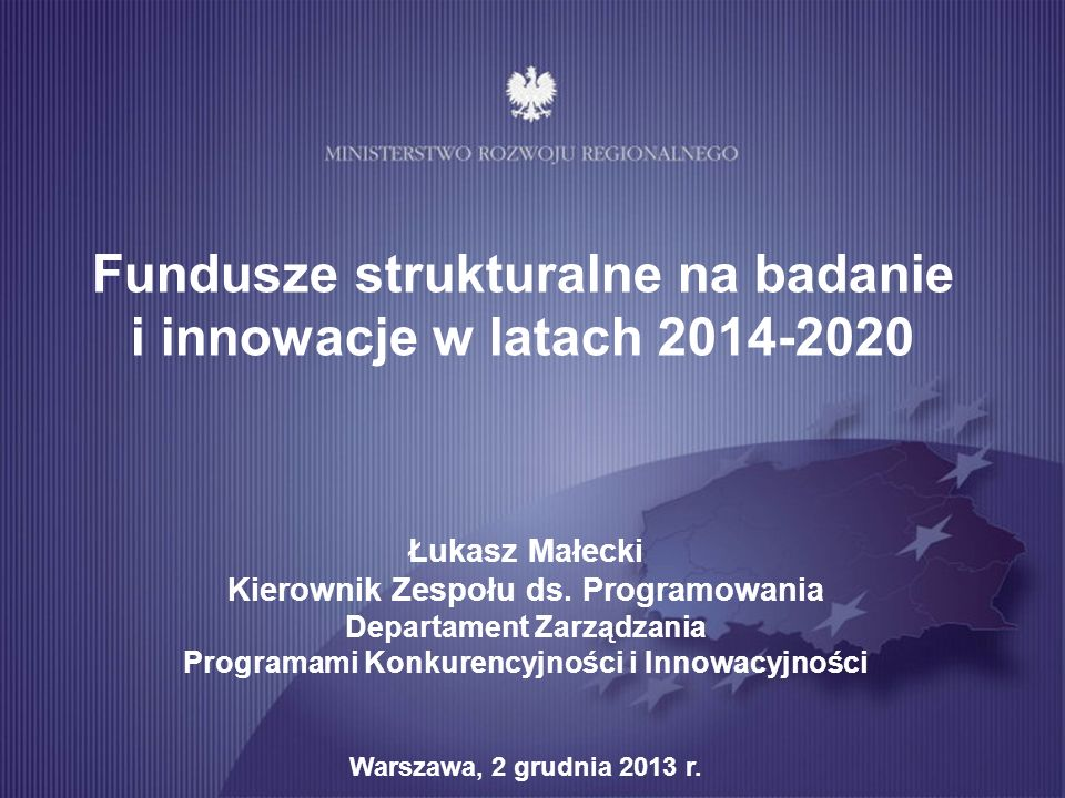 Fundusze strukturalne na badanie i innowacje w latach 2014-2020