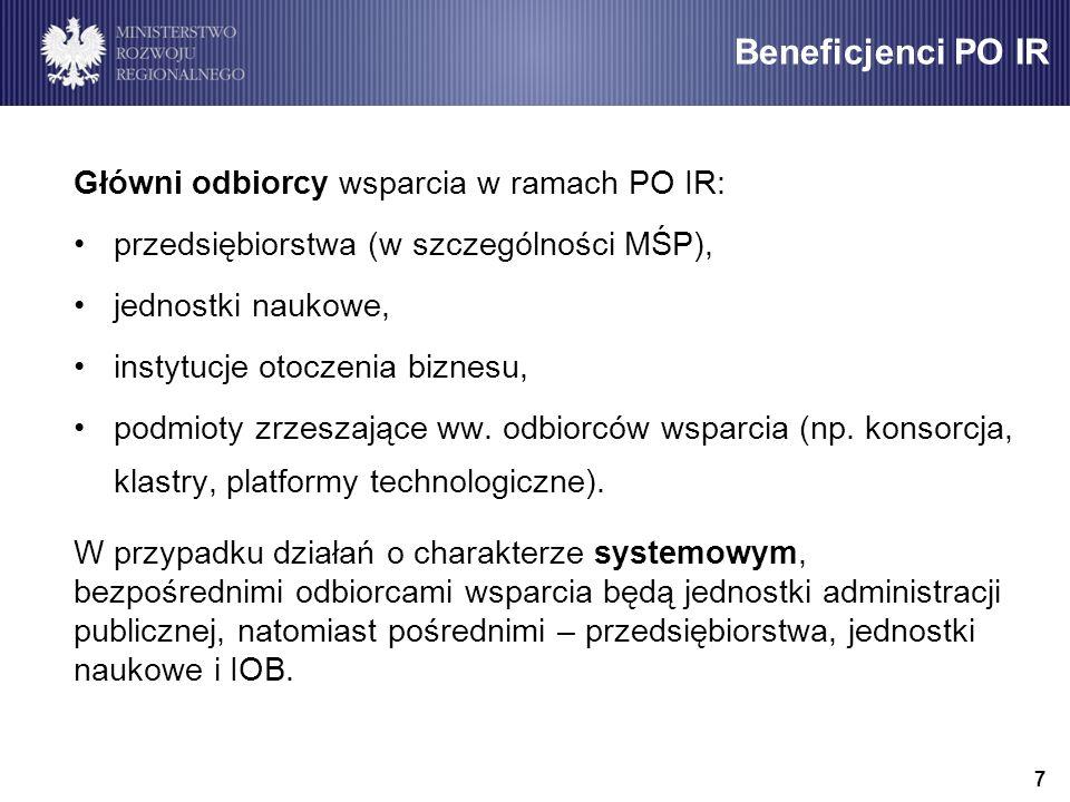 Beneficjenci PO IR Główni odbiorcy wsparcia w ramach PO IR: