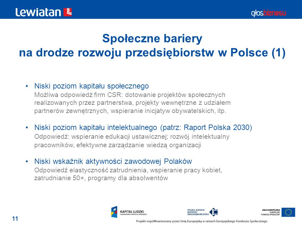 Społeczne bariery na drodze rozwoju przedsiębiorstw w Polsce (1)