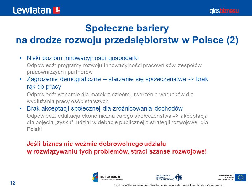 Społeczne bariery na drodze rozwoju przedsiębiorstw w Polsce (2)