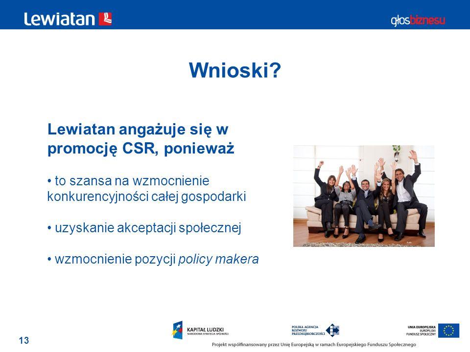 Wnioski Lewiatan angażuje się w promocję CSR, ponieważ