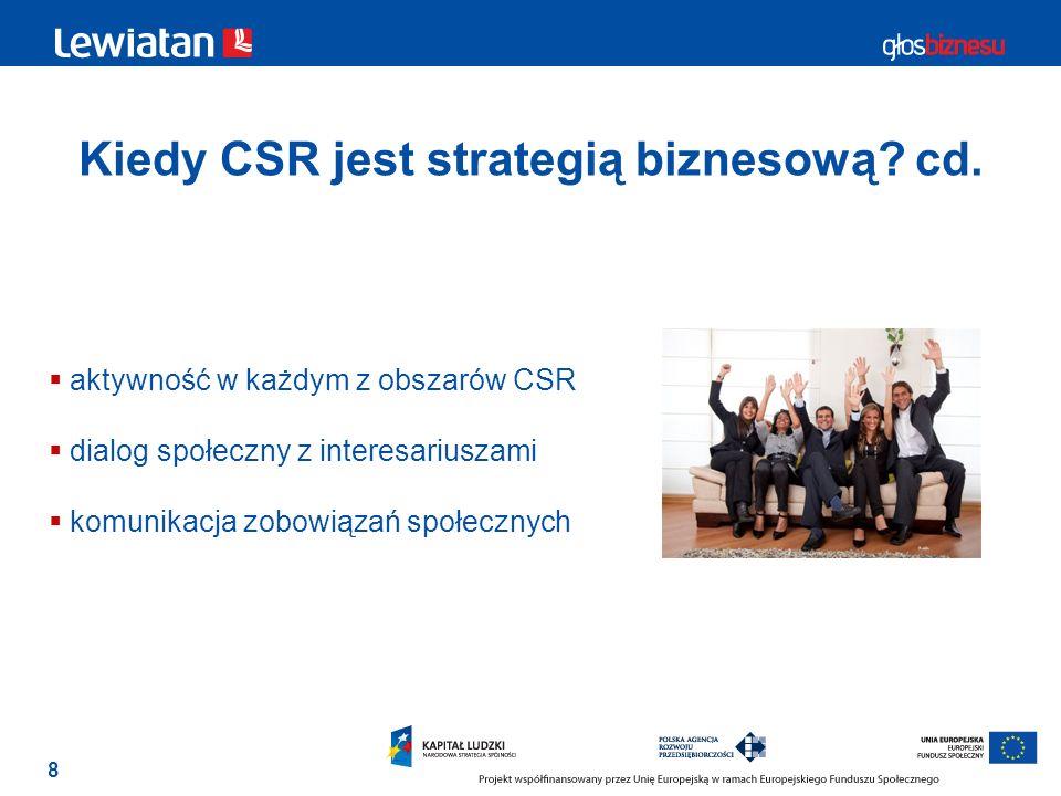 Kiedy CSR jest strategią biznesową cd.