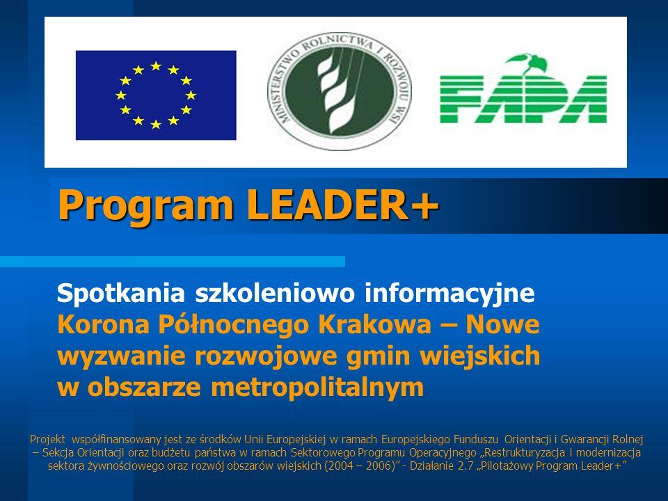 Program LEADER+ Spotkania szkoleniowo informacyjne Korona Północnego Krakowa – Nowe wyzwanie rozwojowe gmin wiejskich w obszarze metropolitalnym.
