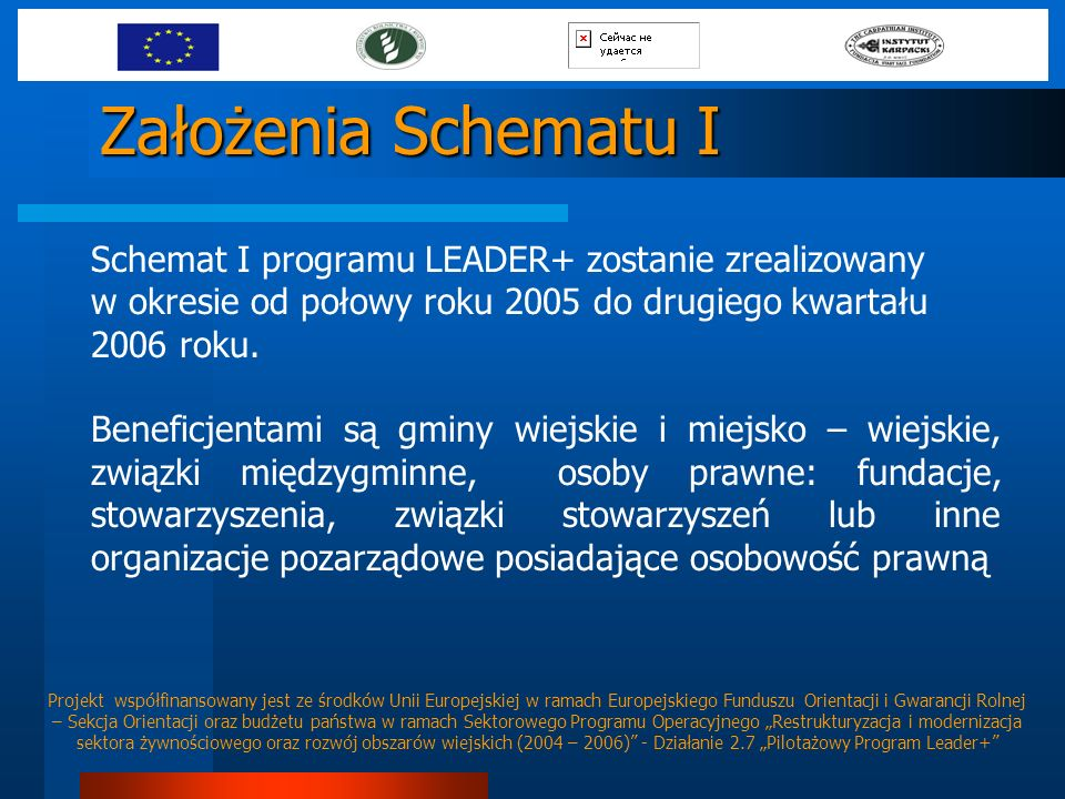 Założenia Schematu I Schemat I programu LEADER+ zostanie zrealizowany w okresie od połowy roku 2005 do drugiego kwartału 2006 roku.