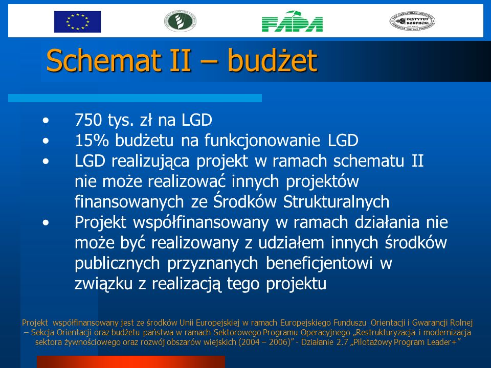 Schemat II – budżet 750 tys. zł na LGD