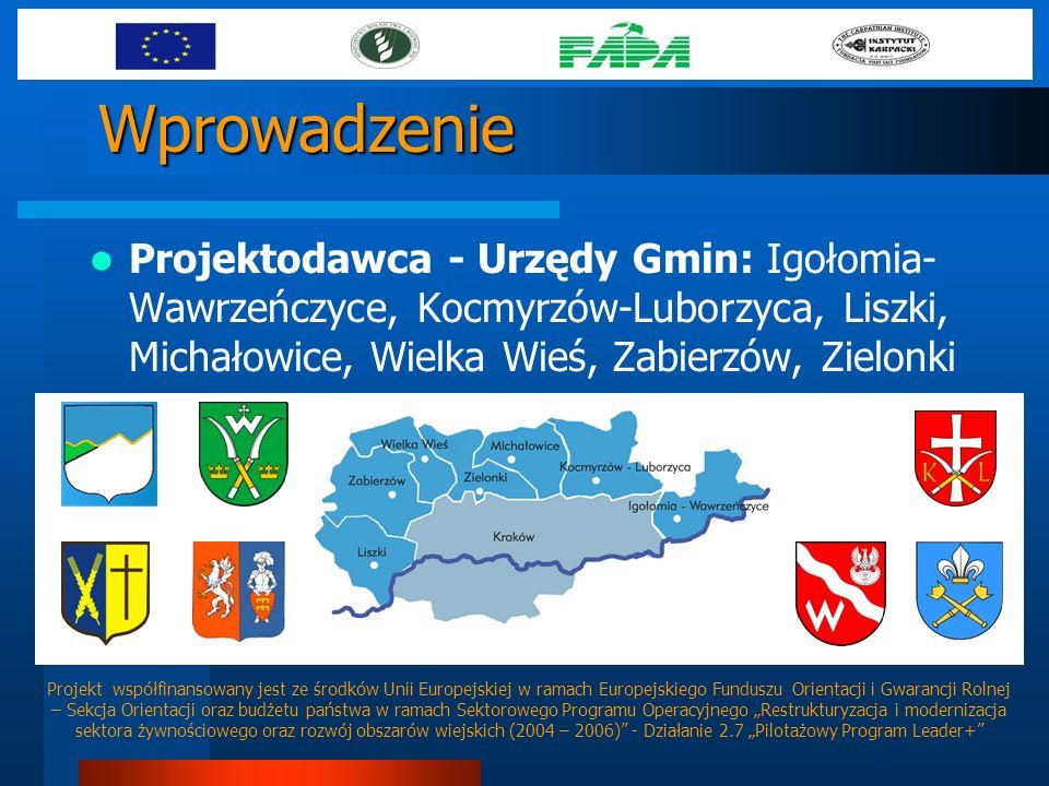 Wprowadzenie Projektodawca - Urzędy Gmin: Igołomia-Wawrzeńczyce, Kocmyrzów-Luborzyca, Liszki, Michałowice, Wielka Wieś, Zabierzów, Zielonki.