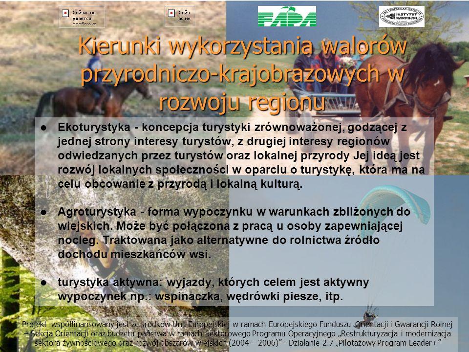 Kierunki wykorzystania walorów przyrodniczo-krajobrazowych w rozwoju regionu