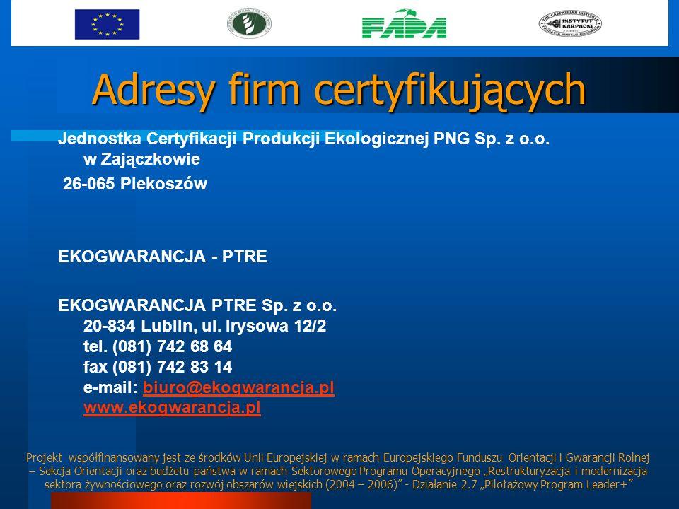 Adresy firm certyfikujących