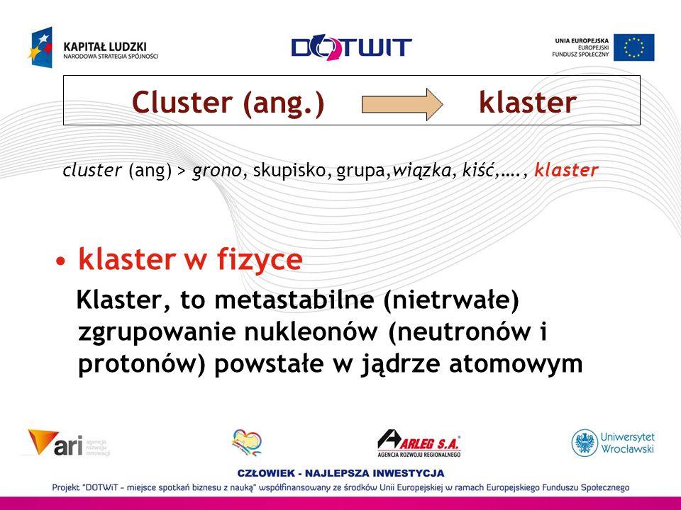 cluster (ang) > grono, skupisko, grupa,wiązka, kiść,…., klaster