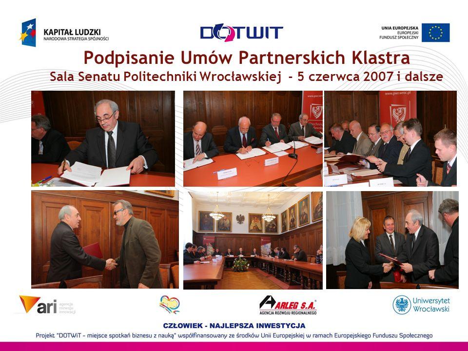 Podpisanie Umów Partnerskich Klastra Sala Senatu Politechniki Wrocławskiej - 5 czerwca 2007 i dalsze