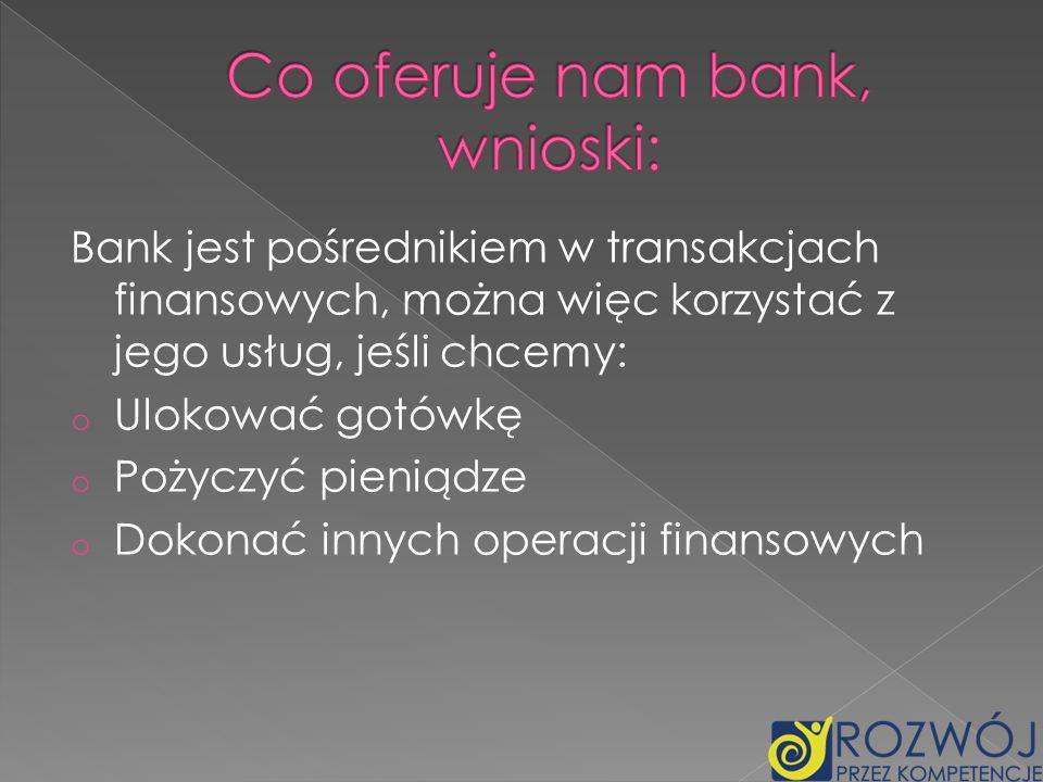 Co oferuje nam bank, wnioski: