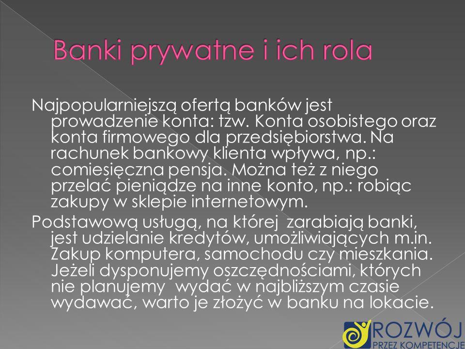 Banki prywatne i ich rola
