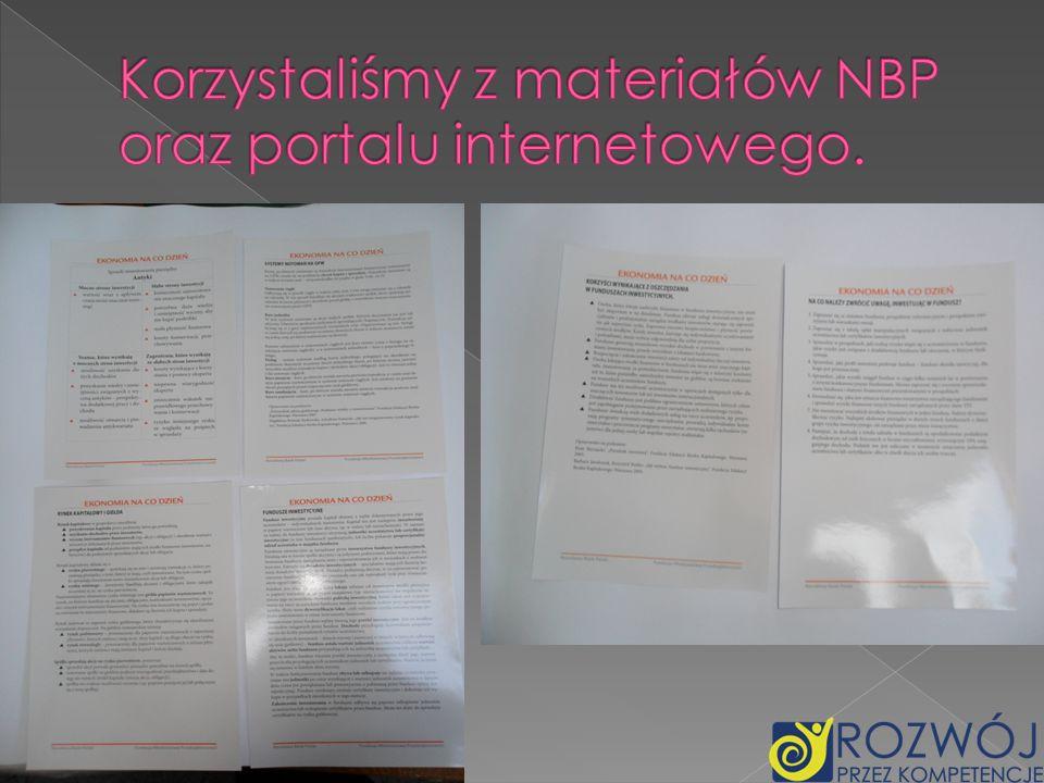 Korzystaliśmy z materiałów NBP oraz portalu internetowego.