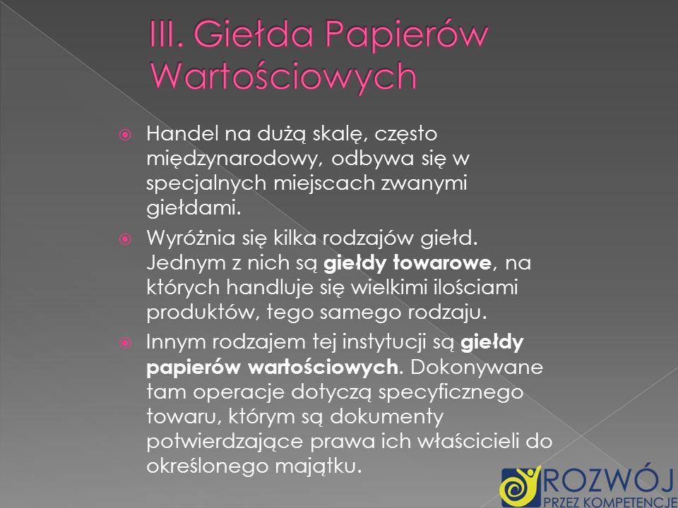 III. Giełda Papierów Wartościowych