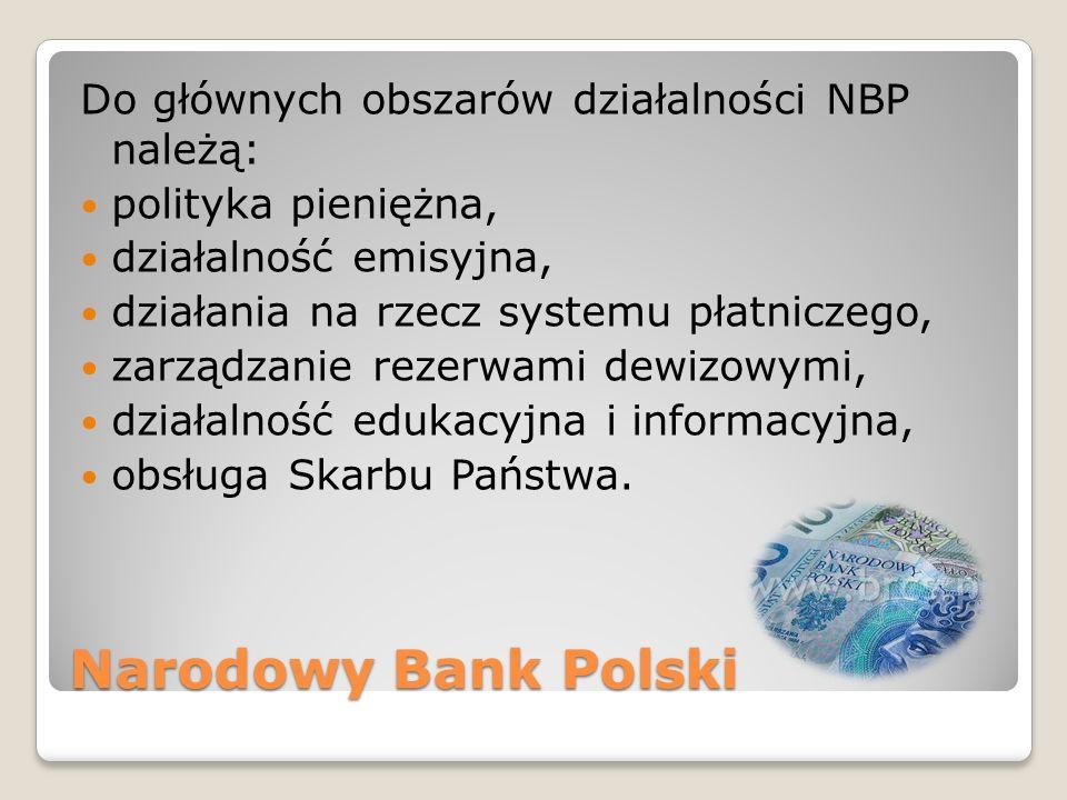 Narodowy Bank Polski Do głównych obszarów działalności NBP należą:
